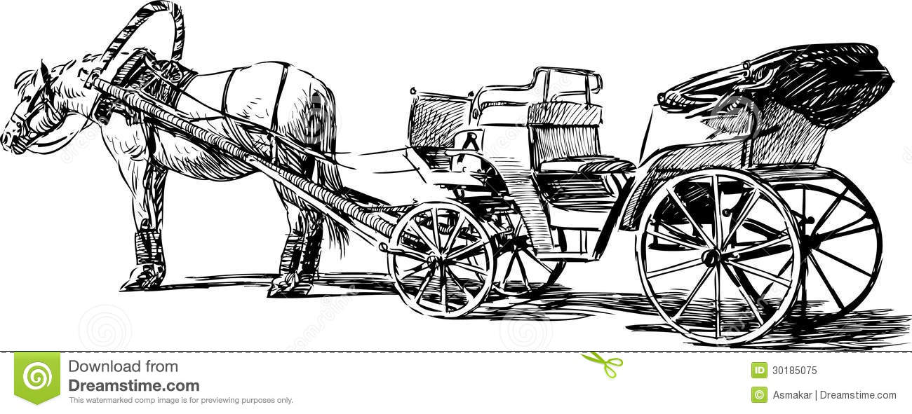 Horse and carriage stock vector. Illustration of history