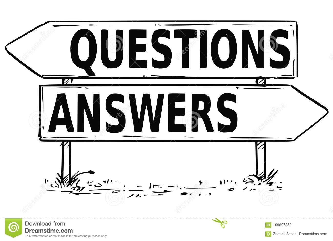 Two Arrow Sign Drawing Of Questions Or Answers Decision