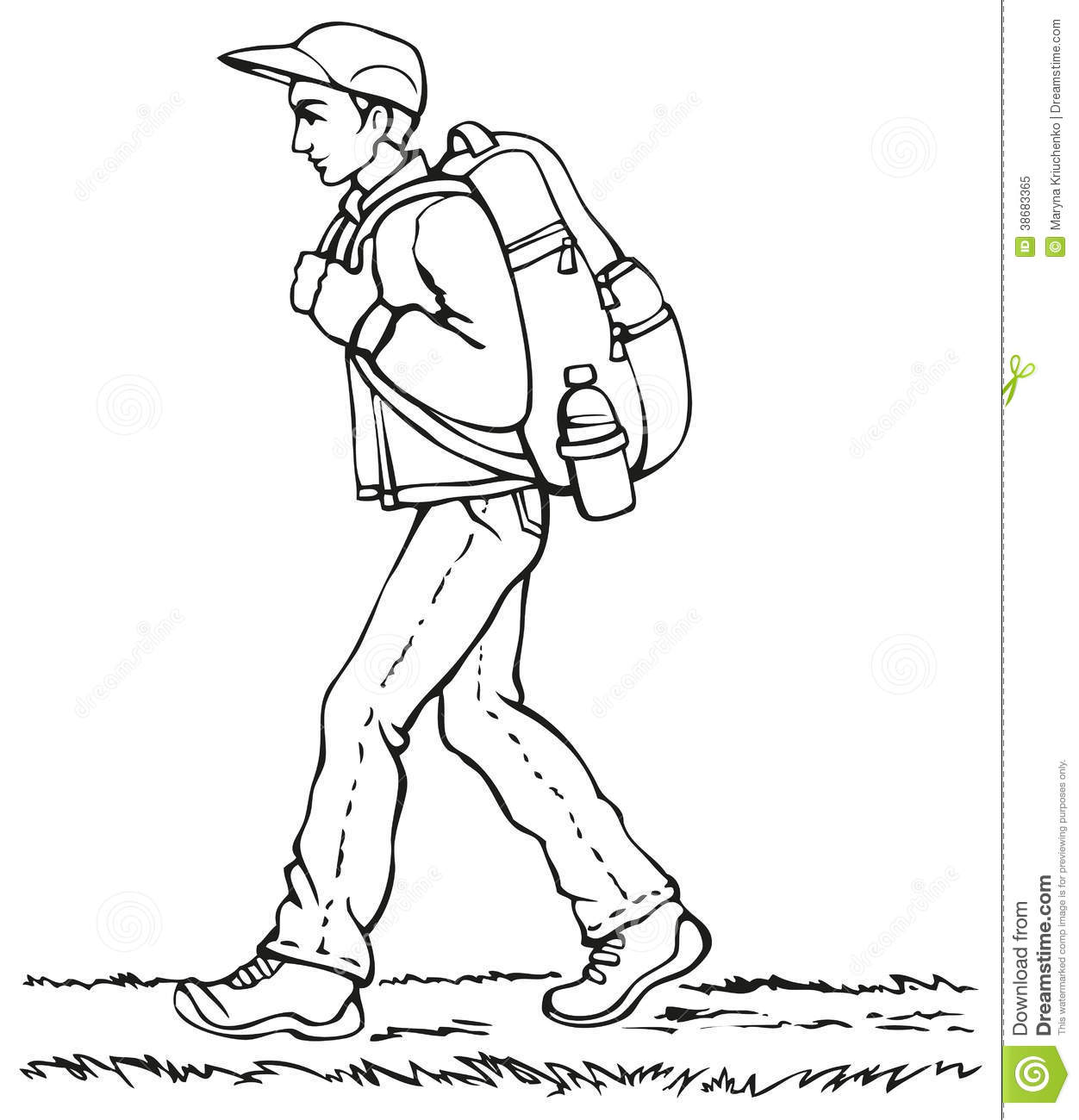 Vector Drawing. Traveler With Backpack Stock Illustration