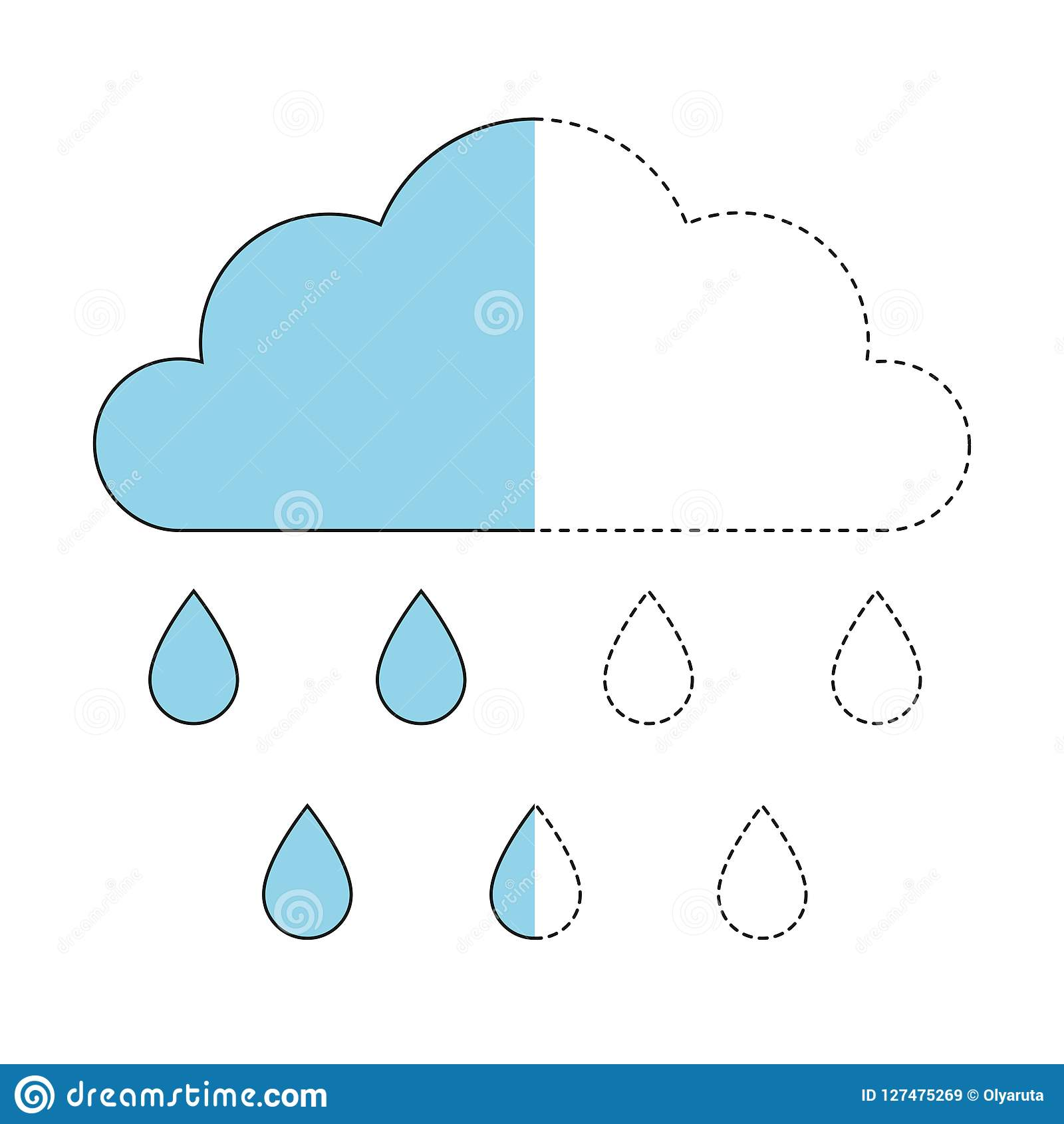 Illustration Of Cloud And Raindrops For Toddlers Stock