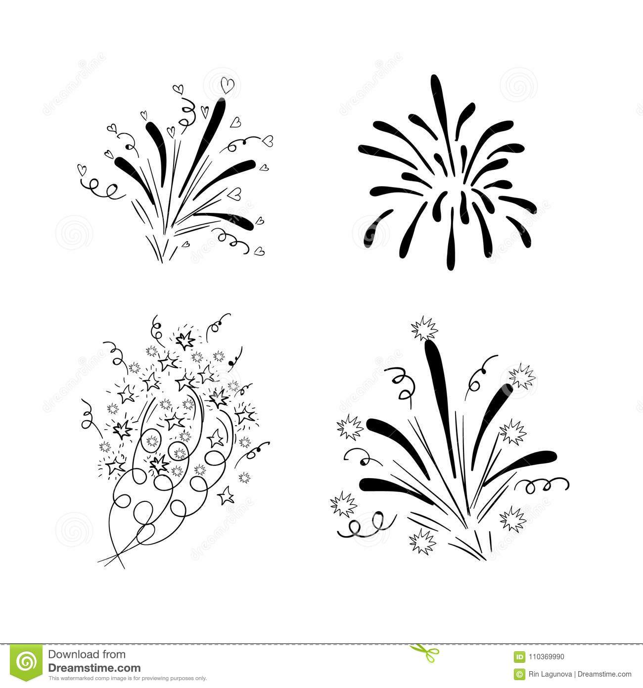 Vector Drawn Firework Explosions Black Drawings Isolated