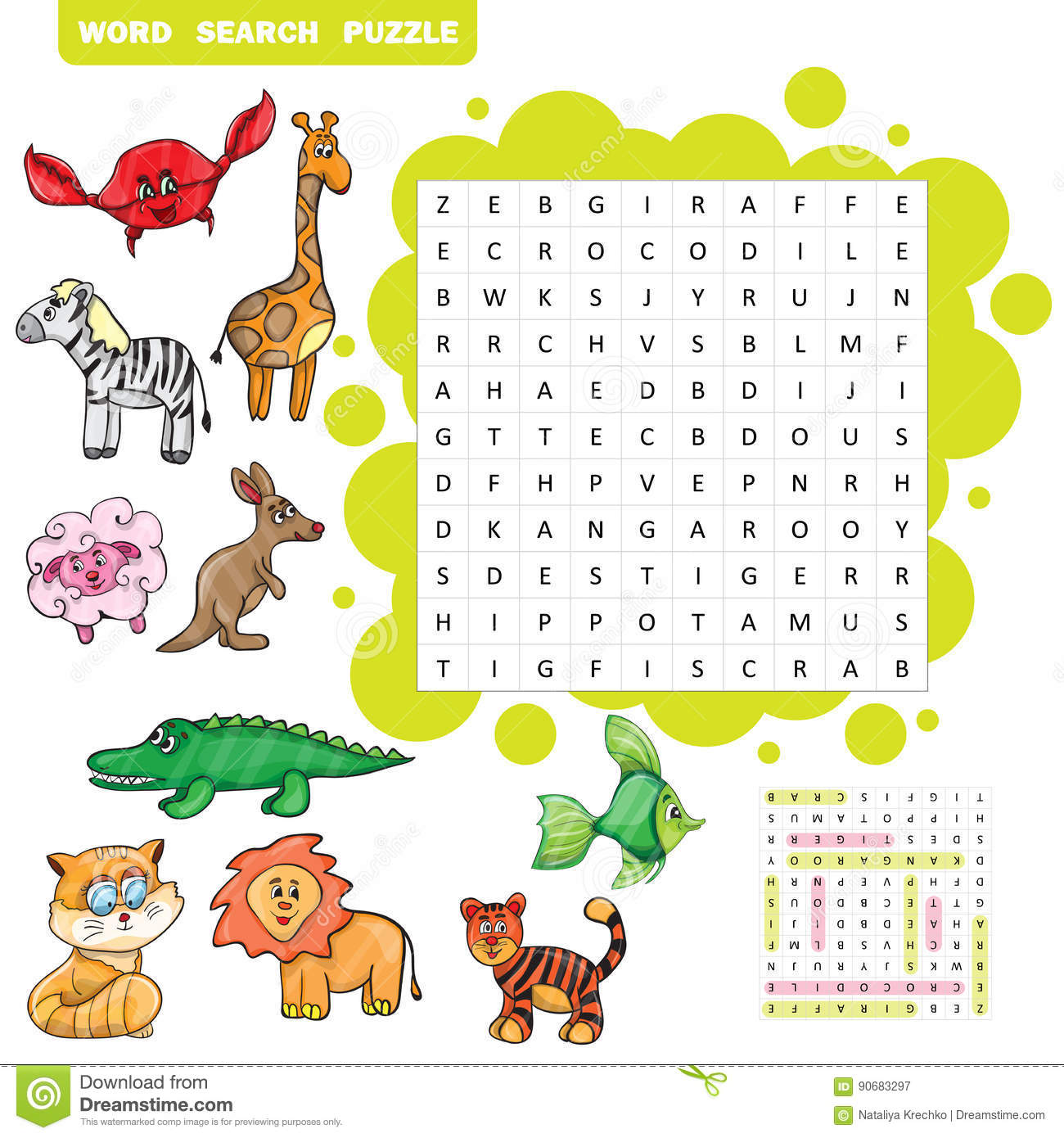 Vector Education Game For Children About Animals Word