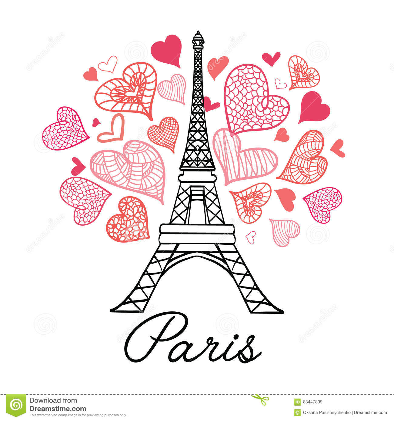 Vector Eifel Tower Paris Bursting With St Valentines Day