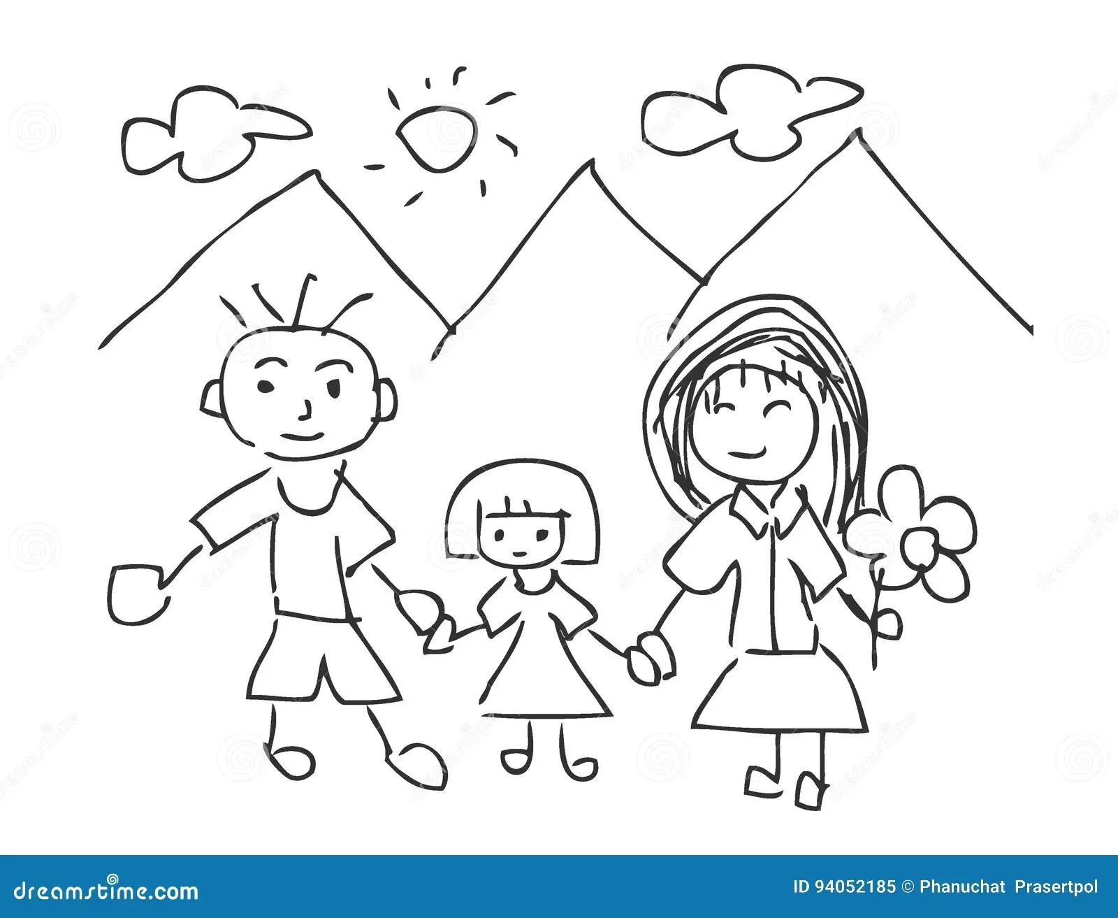 Vector El Ejemplo De Los Dibujos De Los Niños, Niños Que