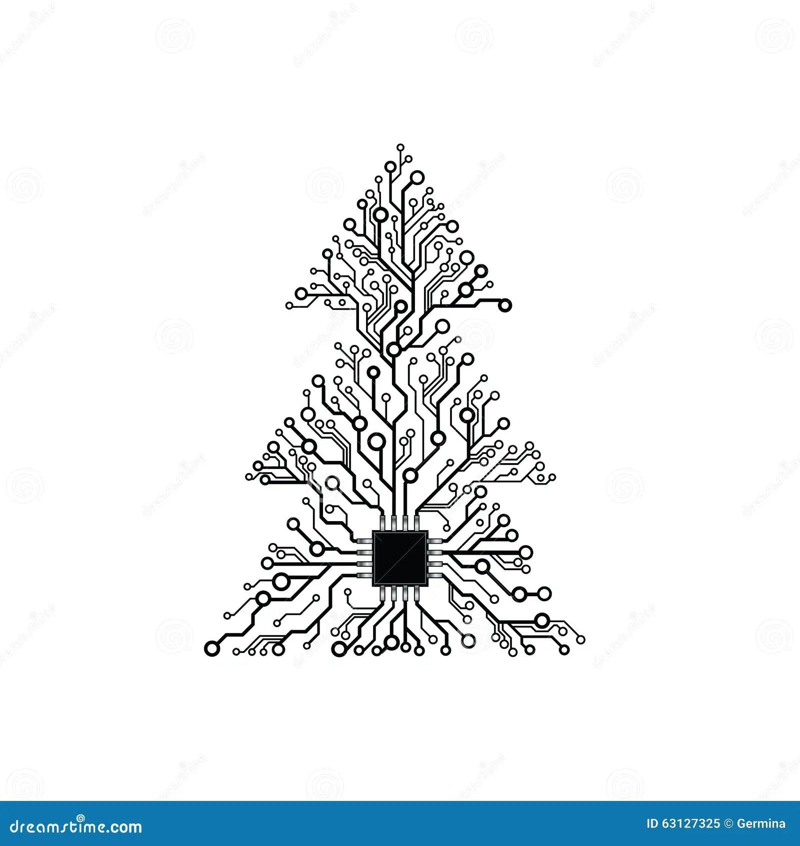 Vector Electronic Christmas Tree Stock Vector