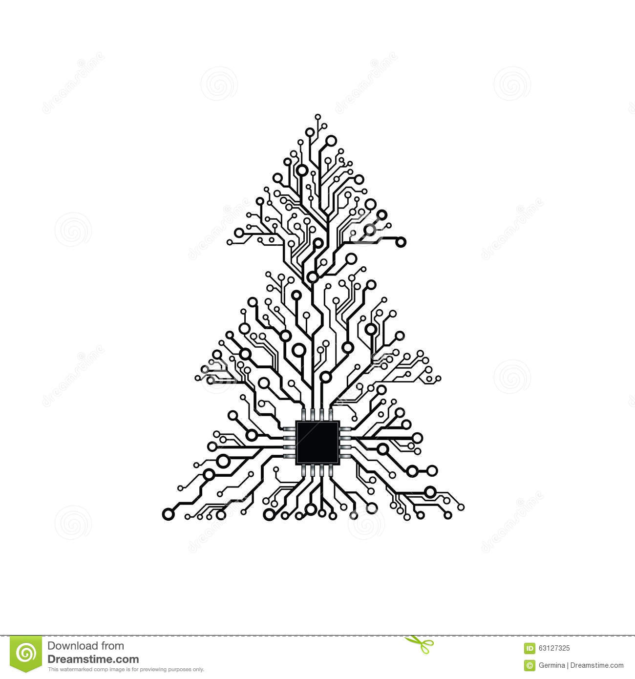 vector circuit board tree with root as connector
