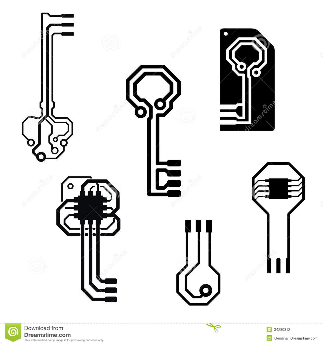 Vector Electronic Circuit Keys Stock Vector
