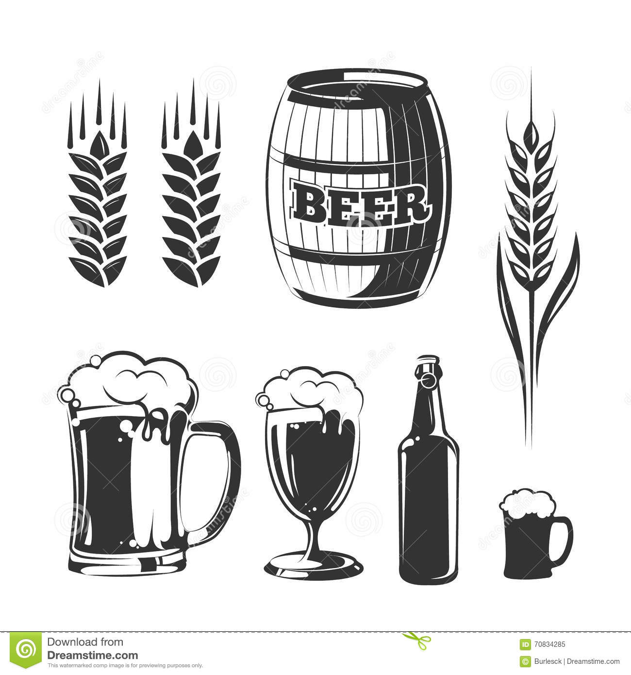 Vector Elements For Vintage Beer Festival Labels And