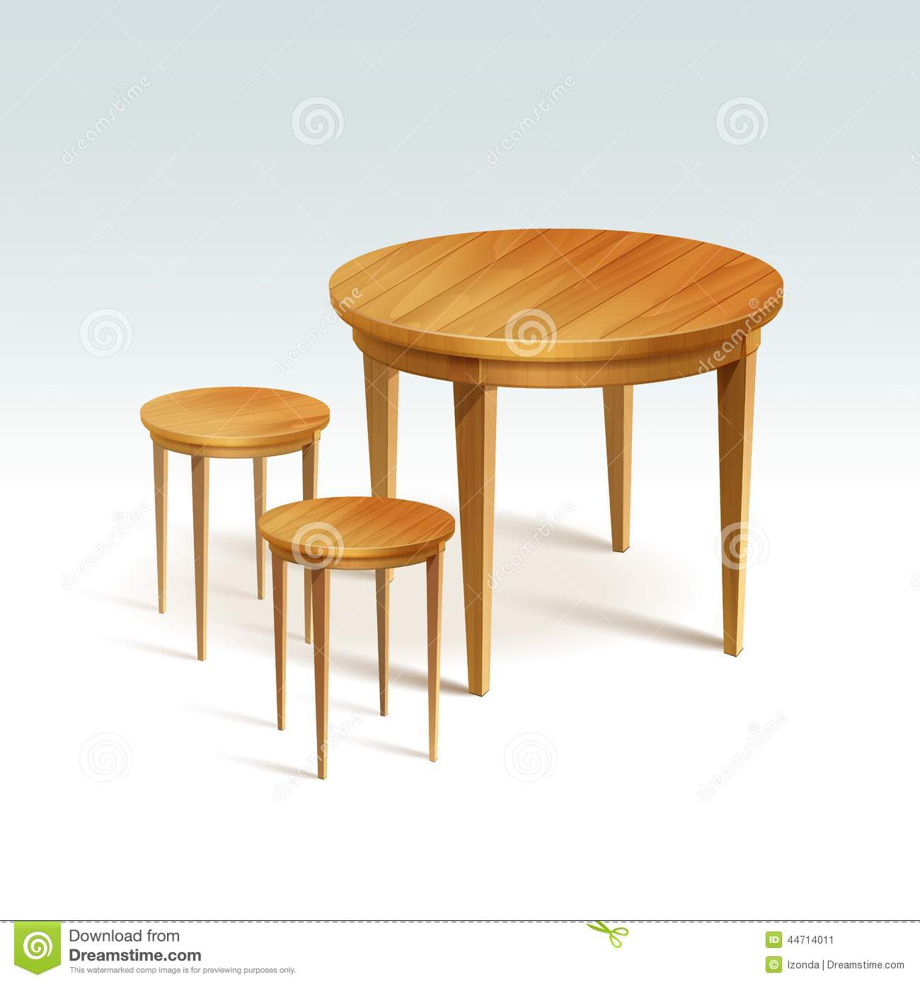 Table With Two Chairs Vector Empty Round Wood Table With Two Chairs Stock Vector
