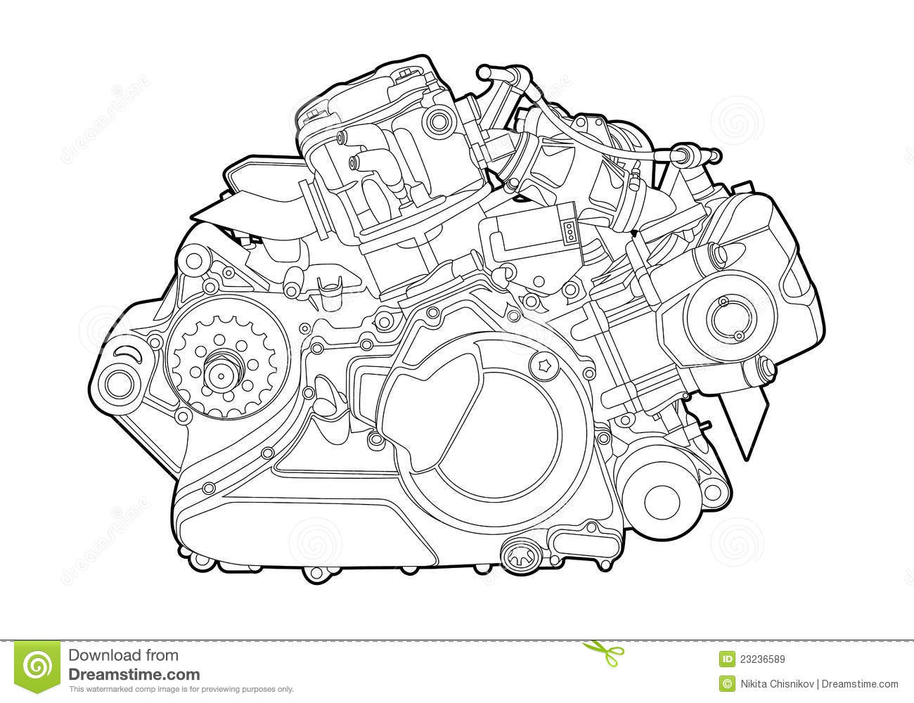 Vector engine stock vector. Illustration of detail, motor