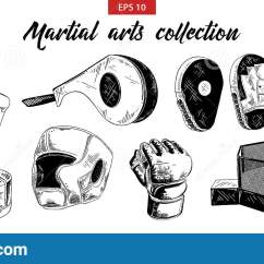 Martial Arts Diagram 1999 Ford Mustang Spark Plug Wiring Hand Drawn Sketch Of Mixed And Boxing Set Isolated On White Background Detailed Vintage Etching Drawing