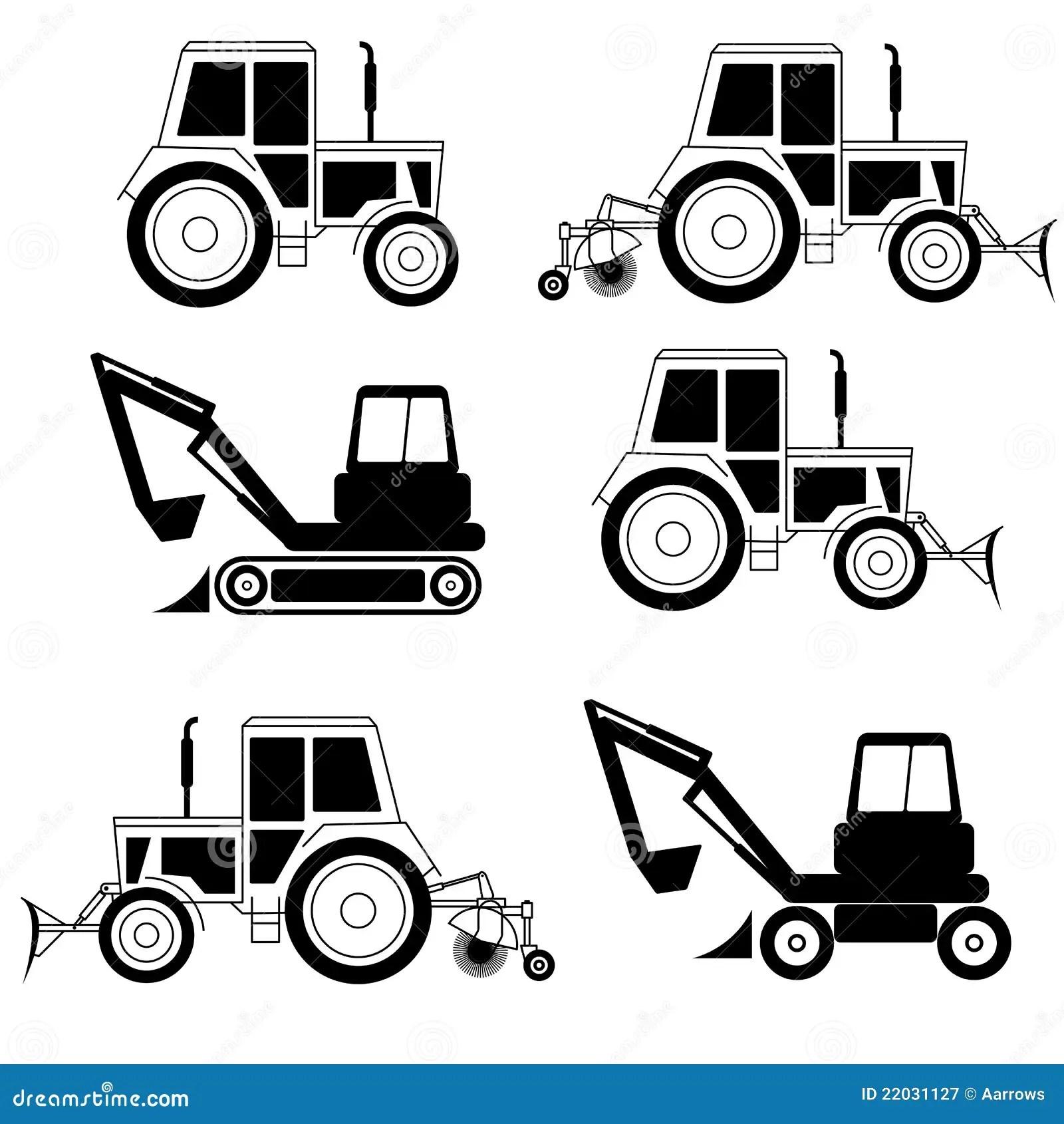 Vector Excavator End Bulldozer Royalty Free Stock