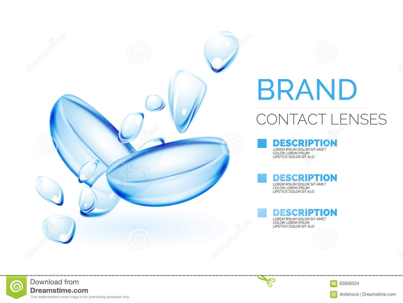 hight resolution of vector eye contacts lenses ad template