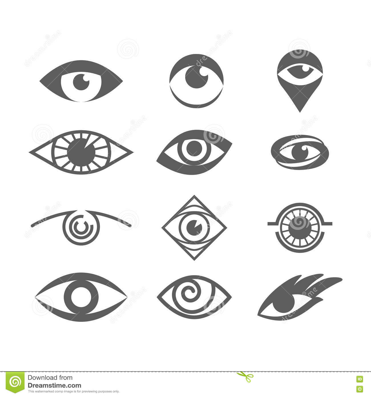 Vector Eyes Set On White. Eye Logo Concept. Stock Vector