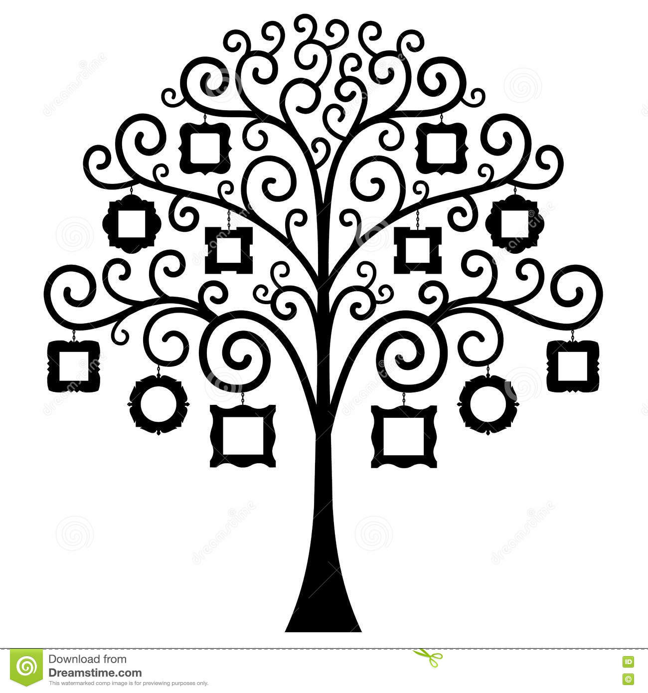 Family Genealogical Tree On Black Background, Vector