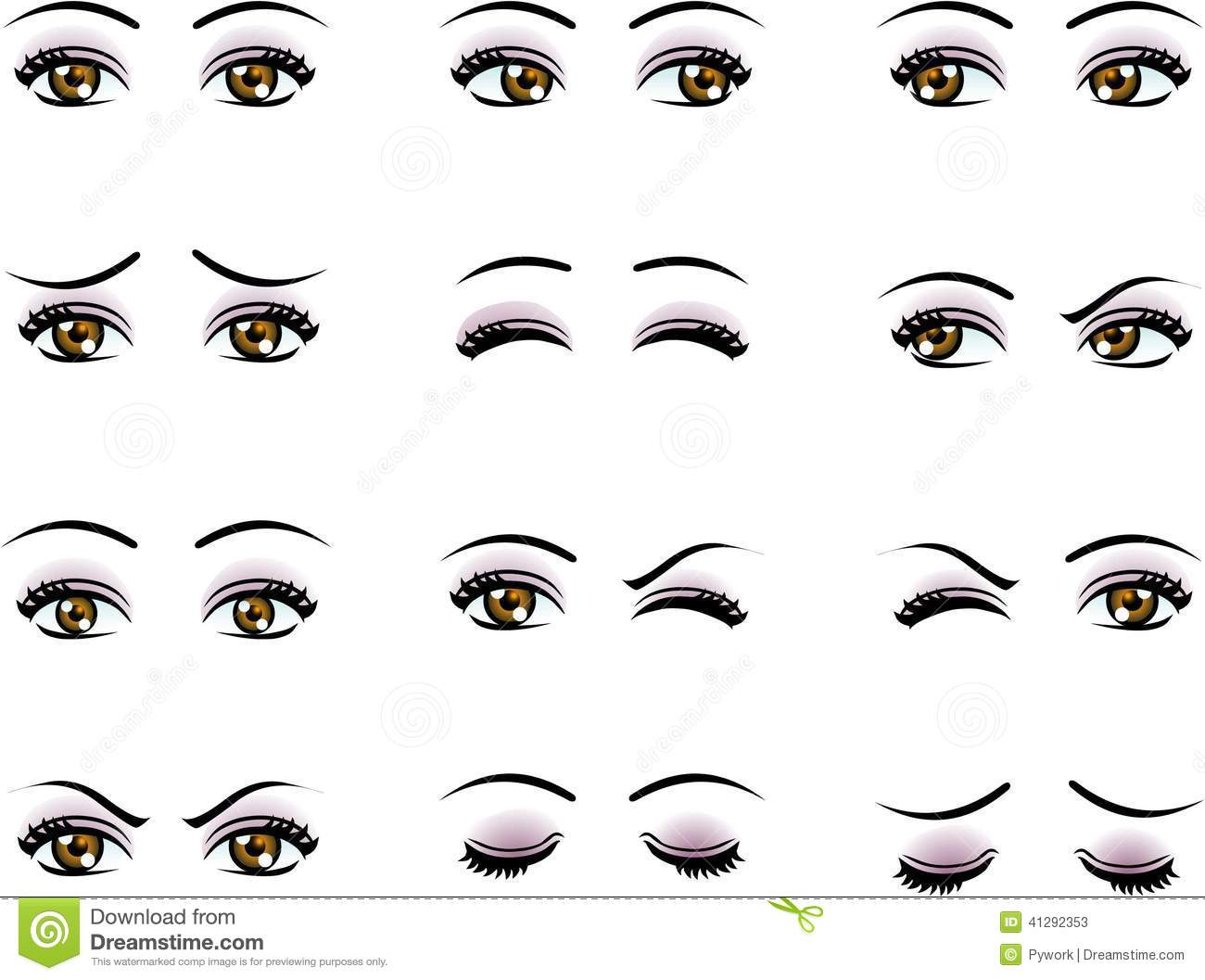 Vector Female Eyes In Different Emotion Stock Vector