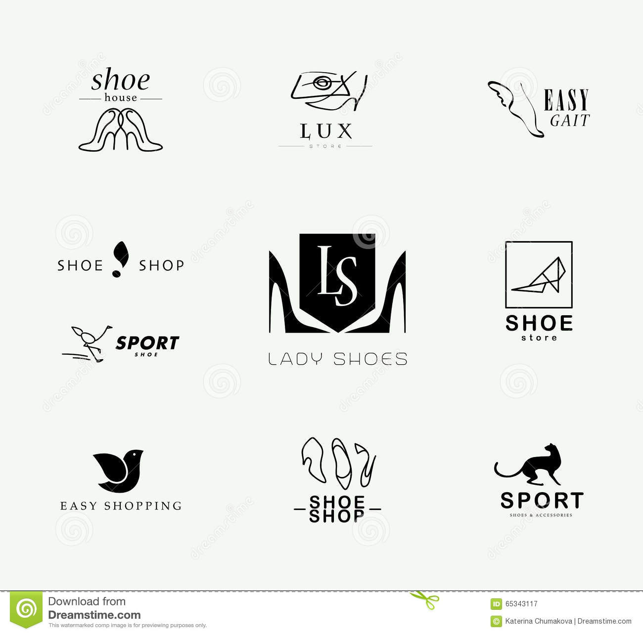 Vector Flat Collection Of Stylish Modern Shoe Logo For