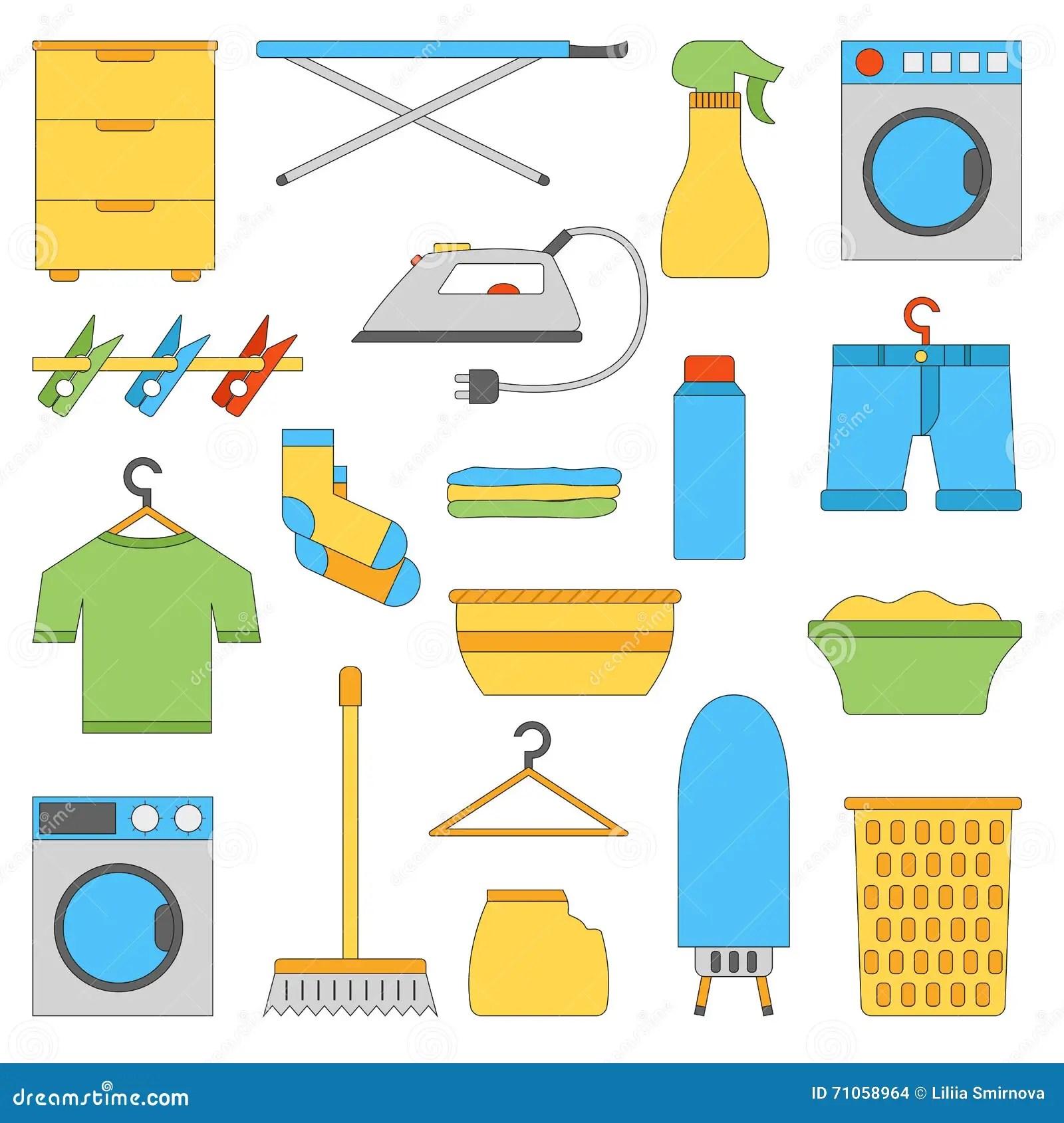 Vector Flat Laundry Room Objects Stock Vector
