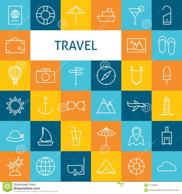 Vector Flat Line Art Modern Travel Vacation And Resort And