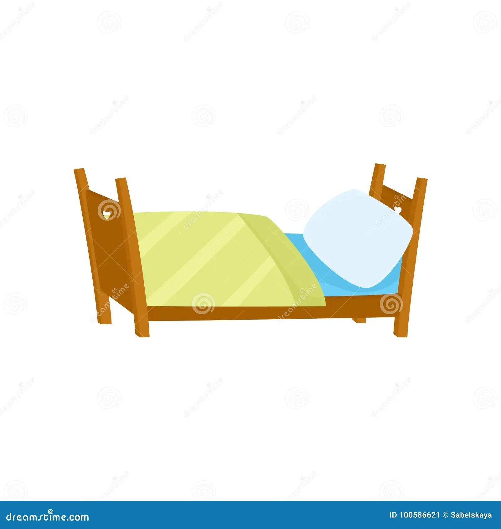 https www dreamstime com vector flat wooden bed pillow blanket vector flat cartoon wooden bed white pillow yellow blanket boys image100586621