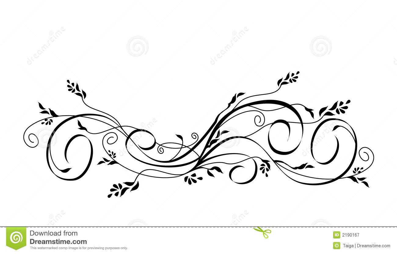 Vector Floral Scroll Ornament Stock Vector