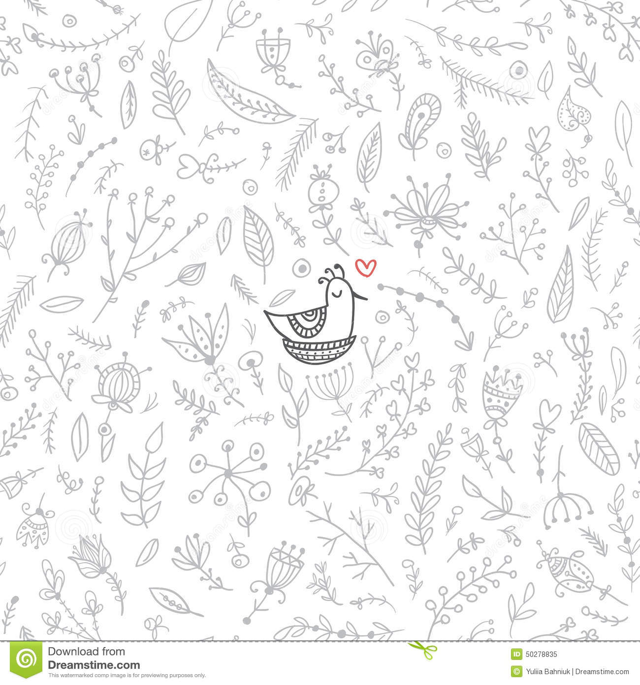 Vector Floral Seamless Pattern With Cute Bird In The Nest