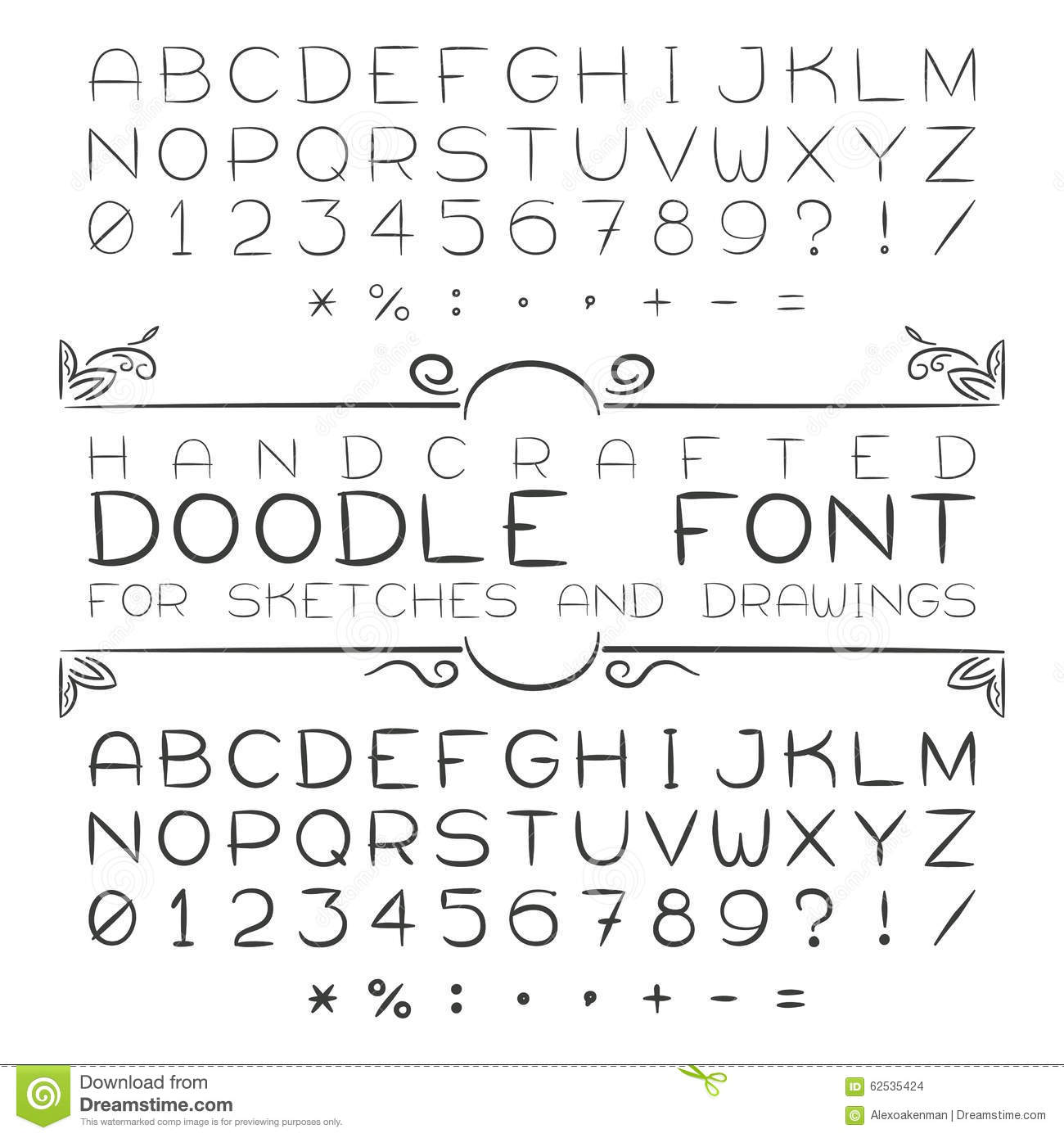 Vector Font Or Alphabet In Doodle Style With Numerals And