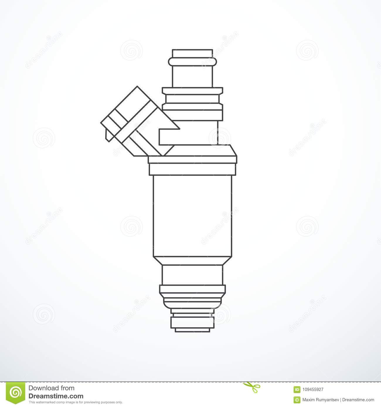 Vector Fuel Injector Isolated Stock Vector
