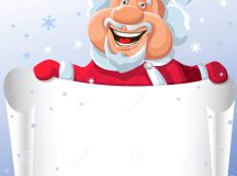 Vector Funny Cartoon Santa Claus With Paper Scroll Royalty ...