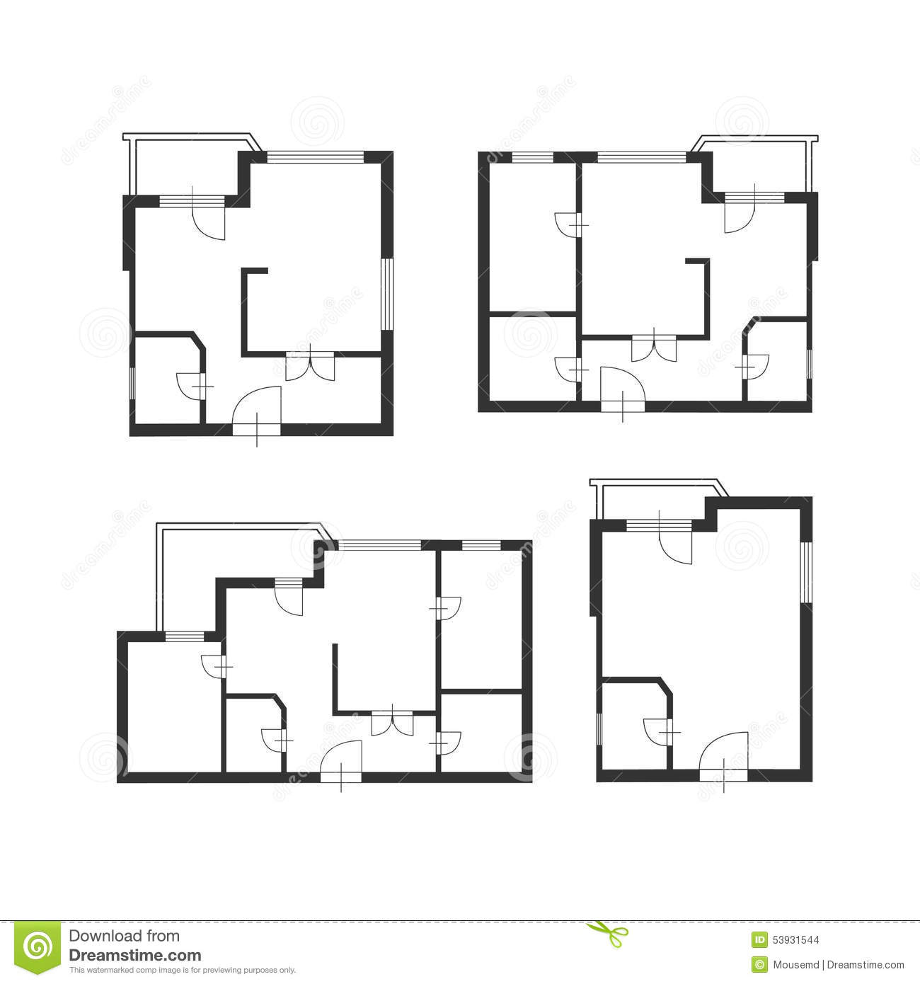 Vector Furniture Architect Plan Of Building Set Stock
