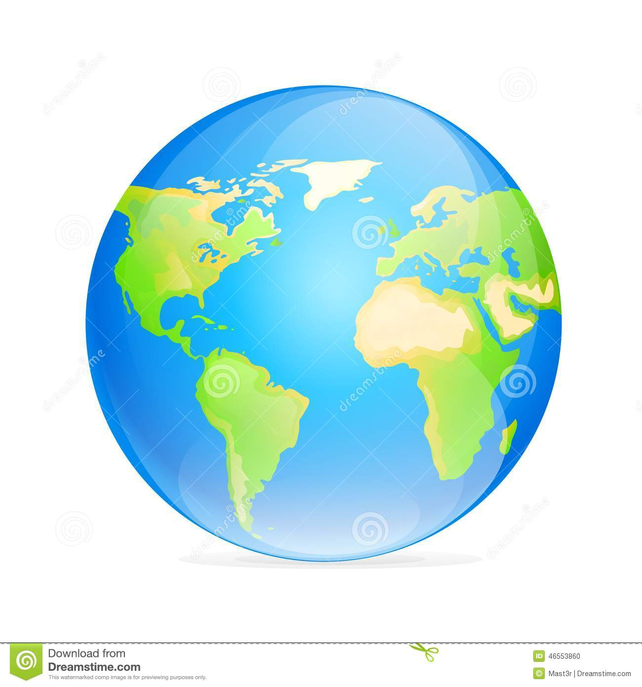 Vector Globe Icon Color World Map Stock Illustration