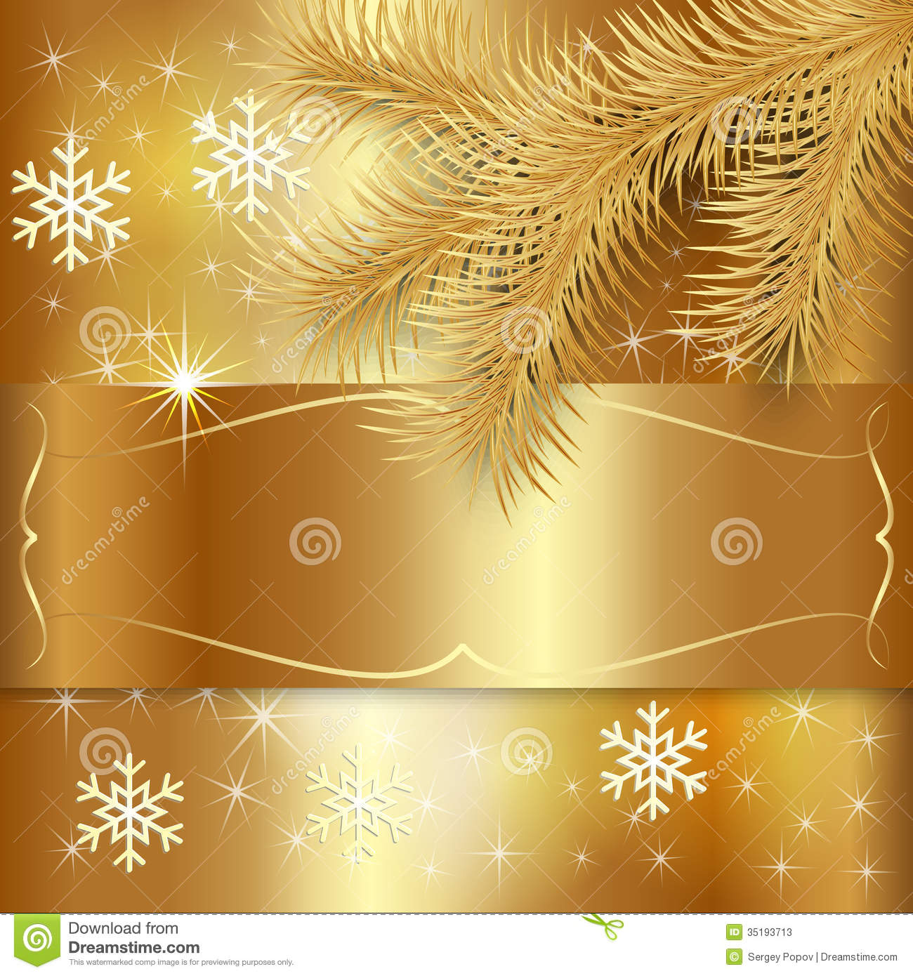 Vector Gold Christmas Holiday Greeting Card Stock Vector