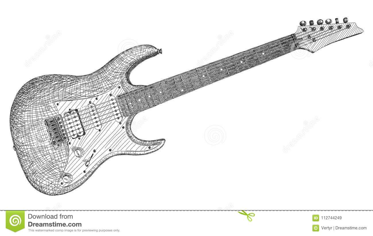 Vector Illustration Drawing Of Electric Guitar Stock Vector