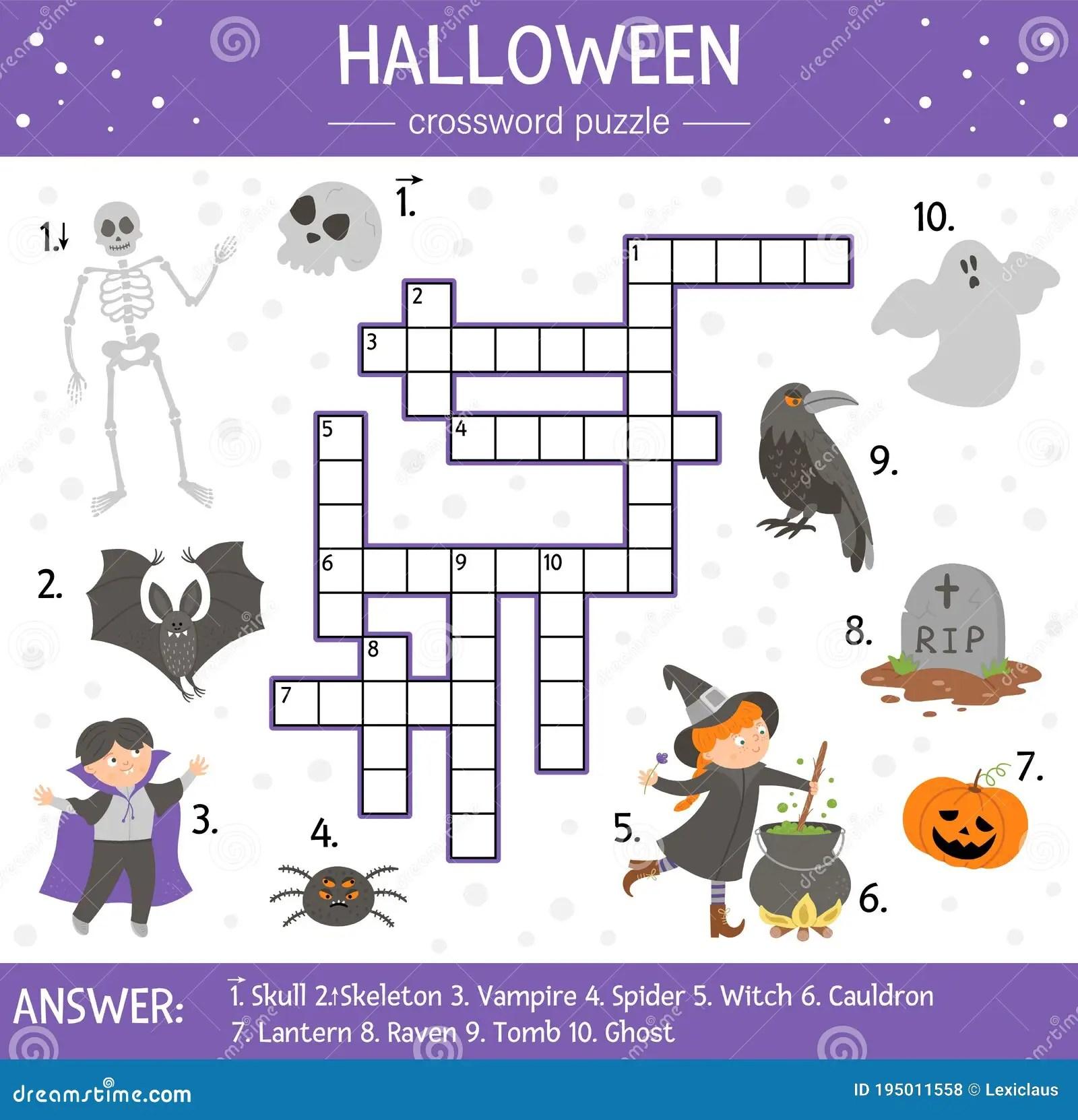 Vector Halloween Crossword Puzzle For Kids Simple Quiz