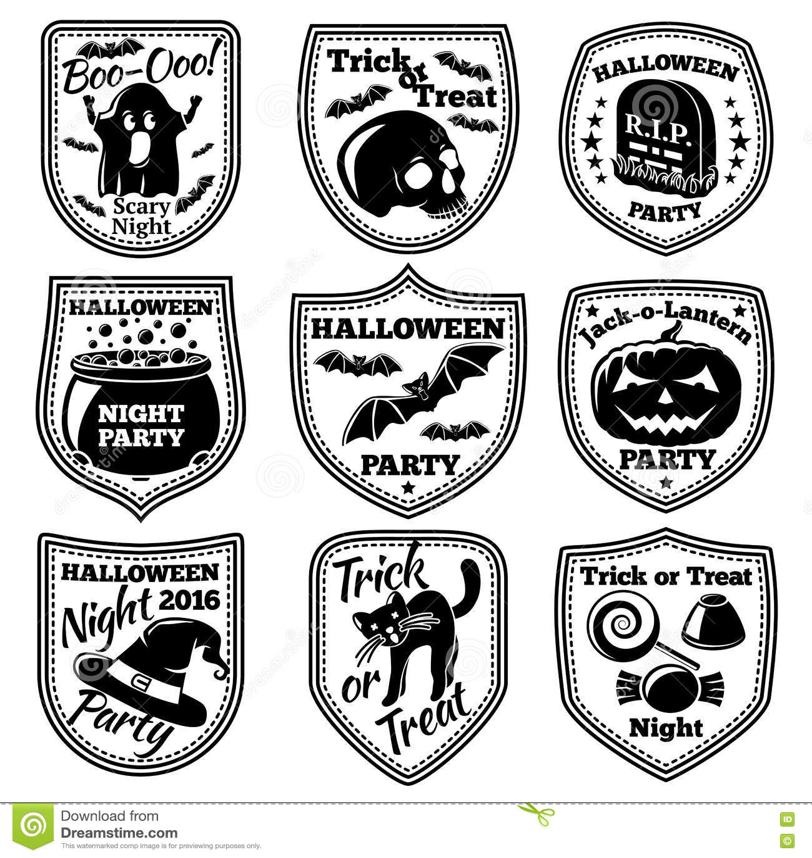 Vector Halloween Labels Set With Pumpkin Skull Ghost Cauldron Bat Witch Hat Cat Etc