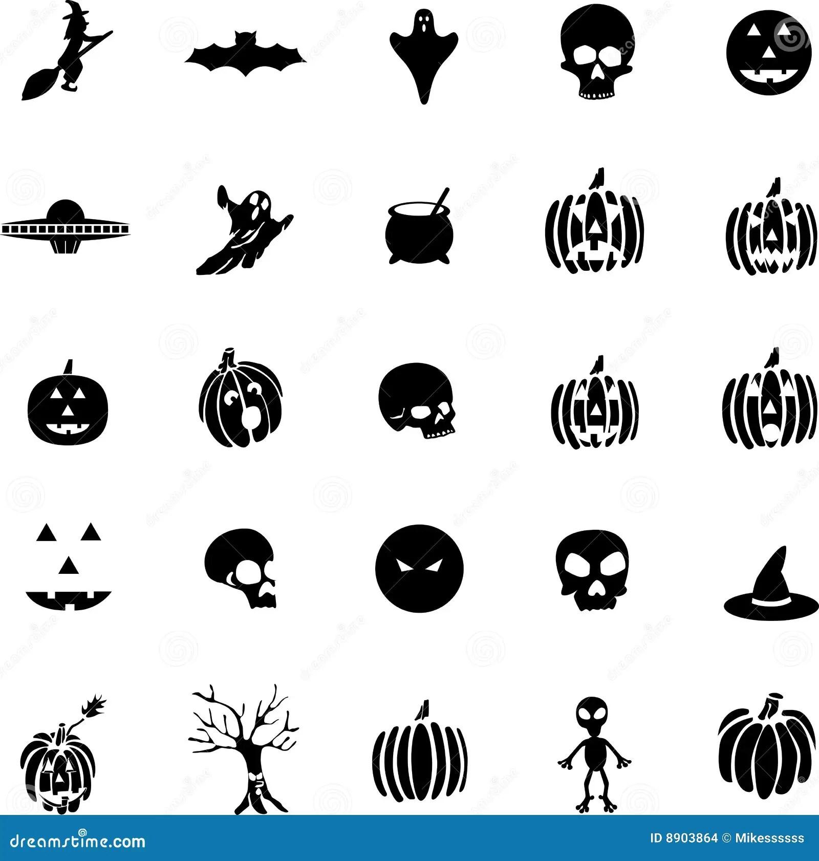 Vector Halloween Symbols, Witches, Pumpkins, Ghost Stock