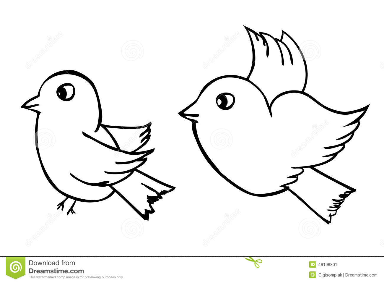 Vector Hand Draw Sketch Two Outline Birds Isolated On