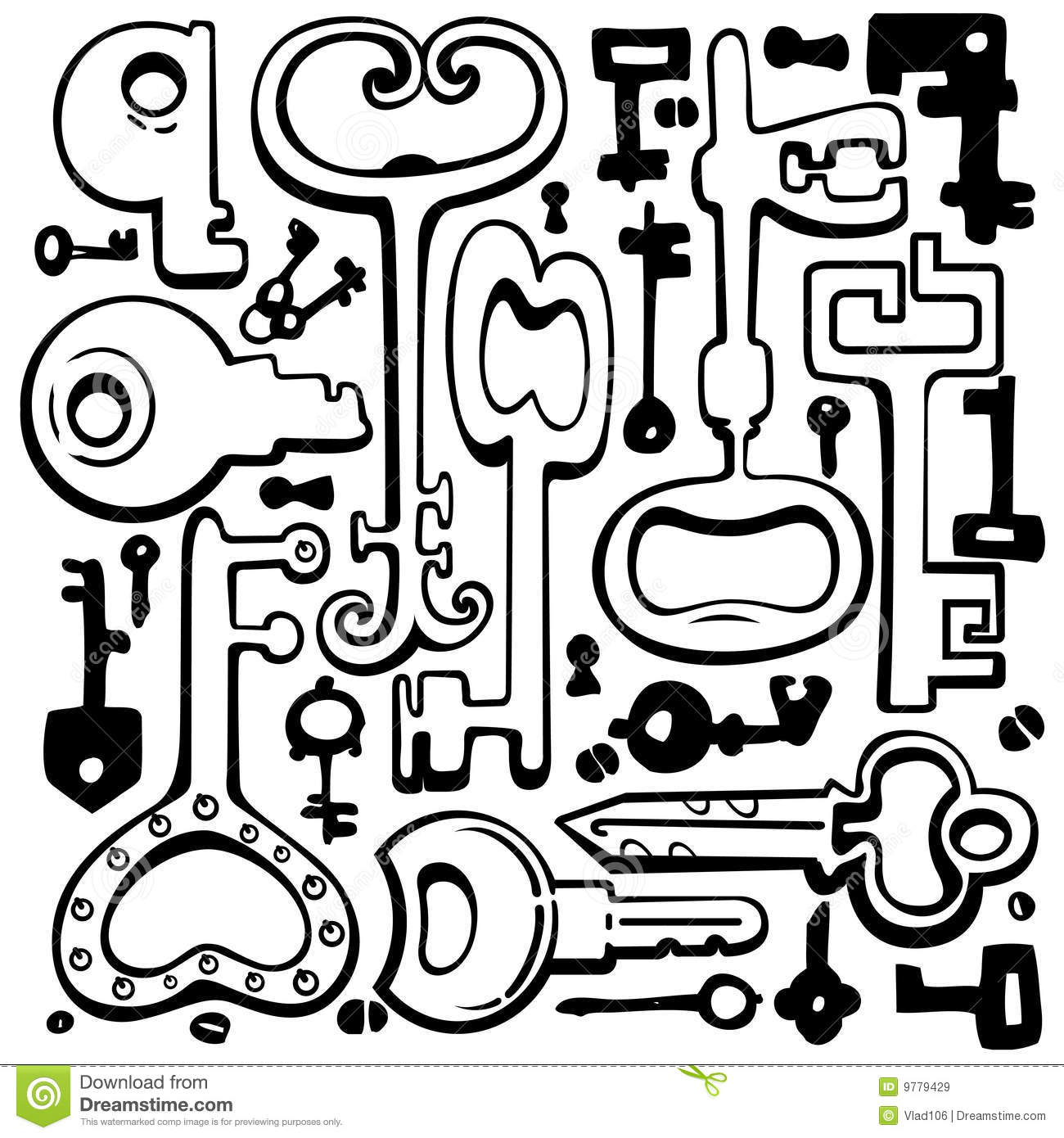 Vector hand drawing keys. stock vector. Image of isolated