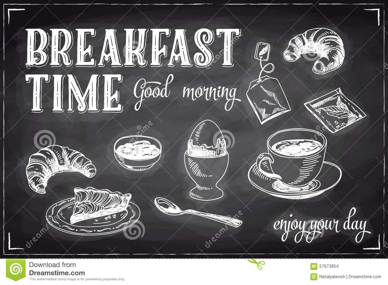 Vector Hand Drawn Breakfast And Branch Background Stock
