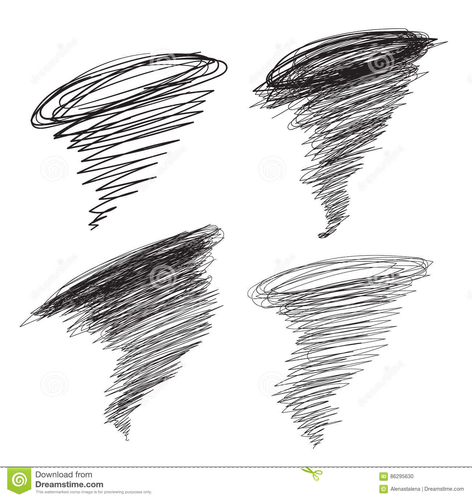 Vector Hand Drawn Hurricane Illustrations Set Cyclone
