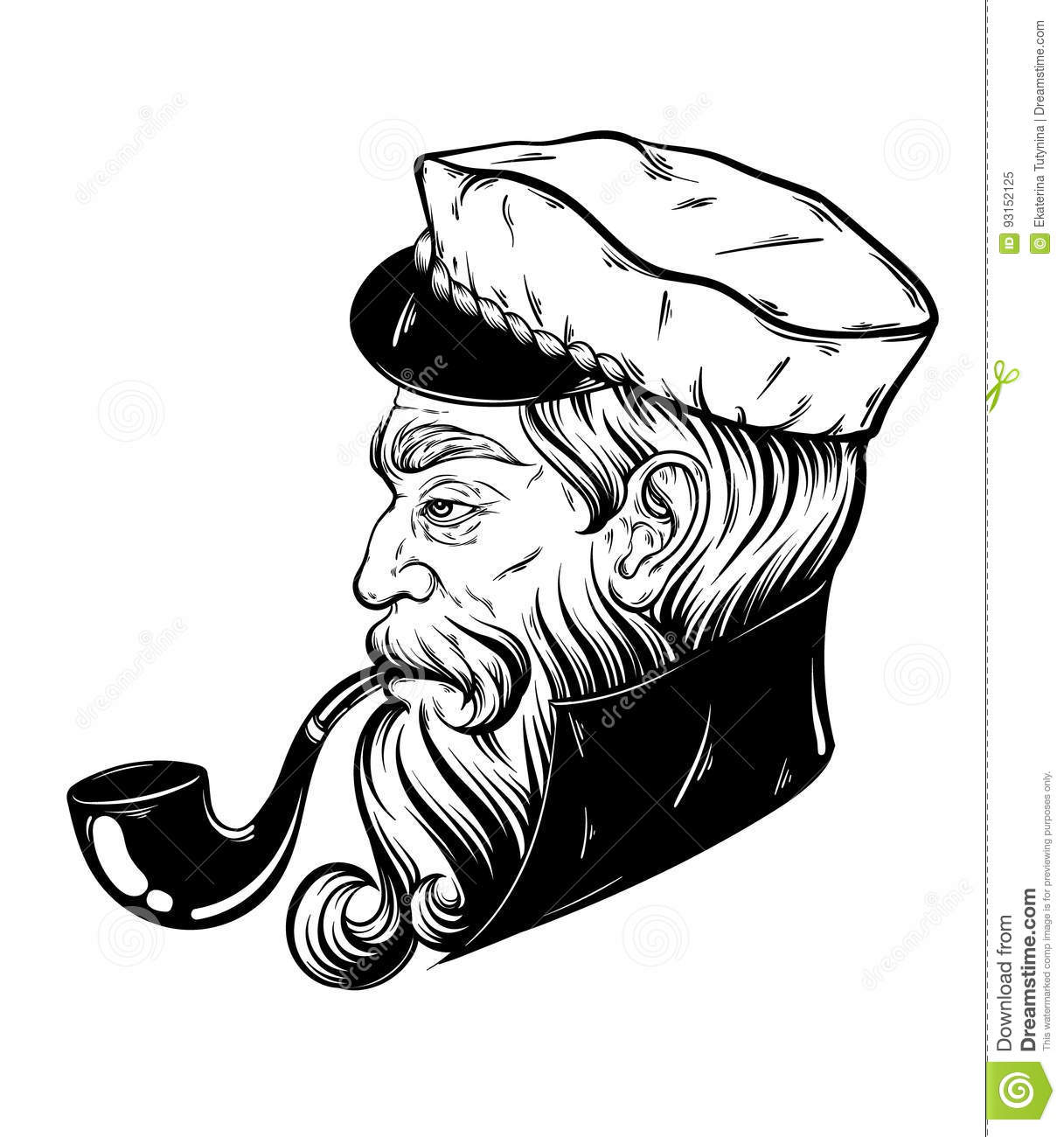 Vector Hand Drawn Illustration Of Captain With Pipe. Stock