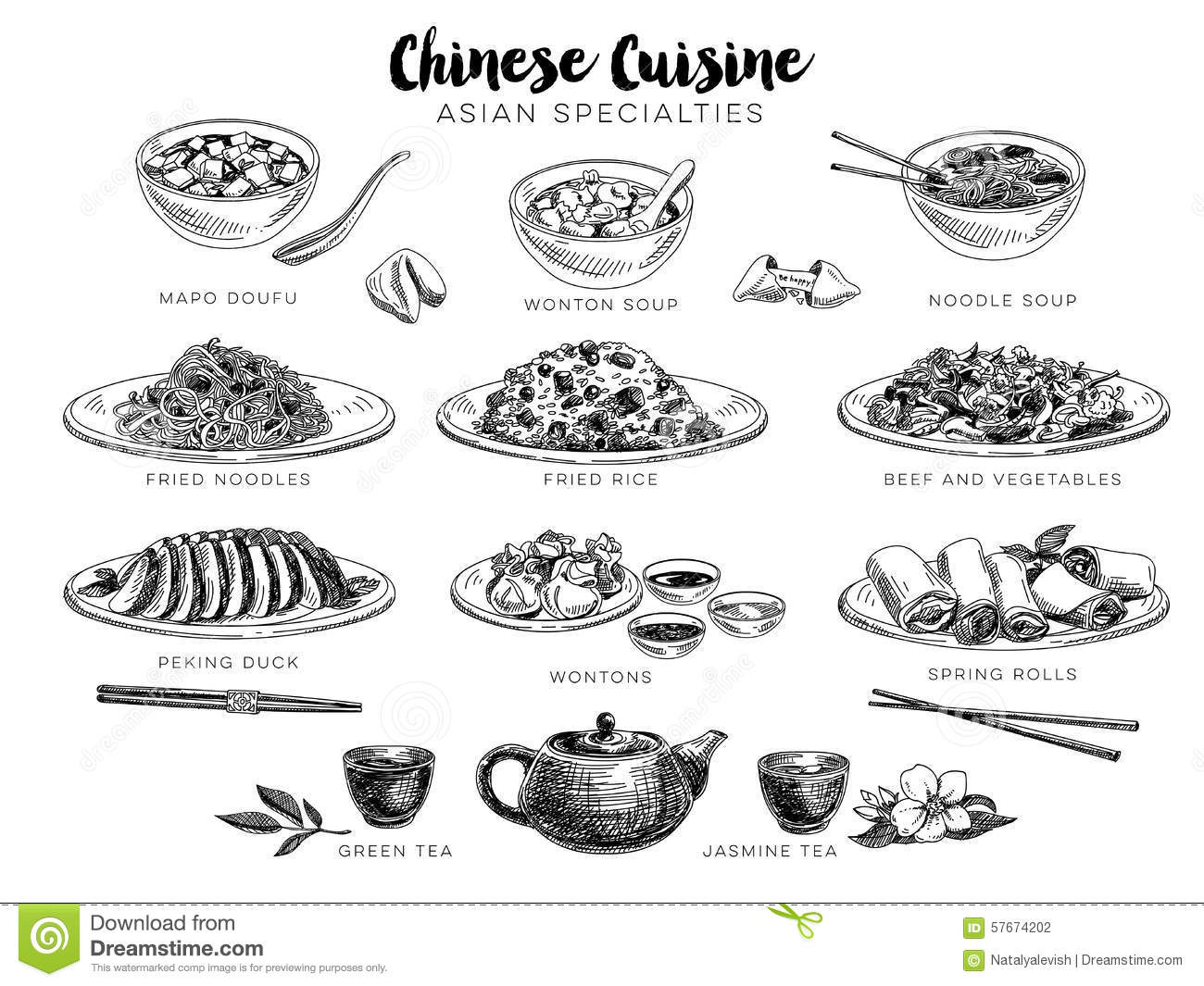 Vector Hand Drawn Illustration With Chinese Food Stock