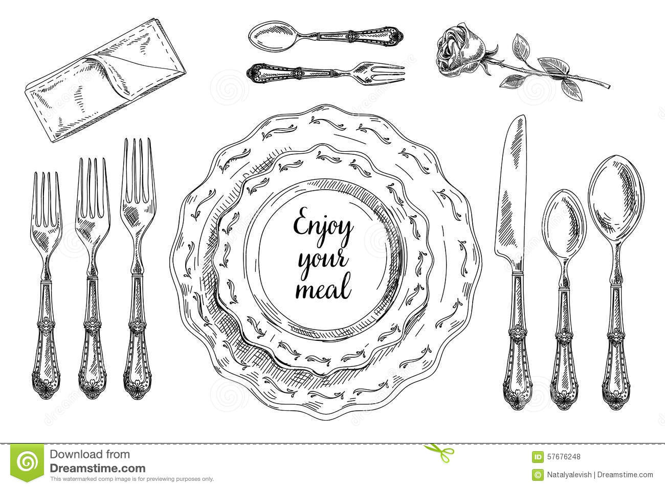 Vector Hand Drawn Illustration With Table Setting Stock