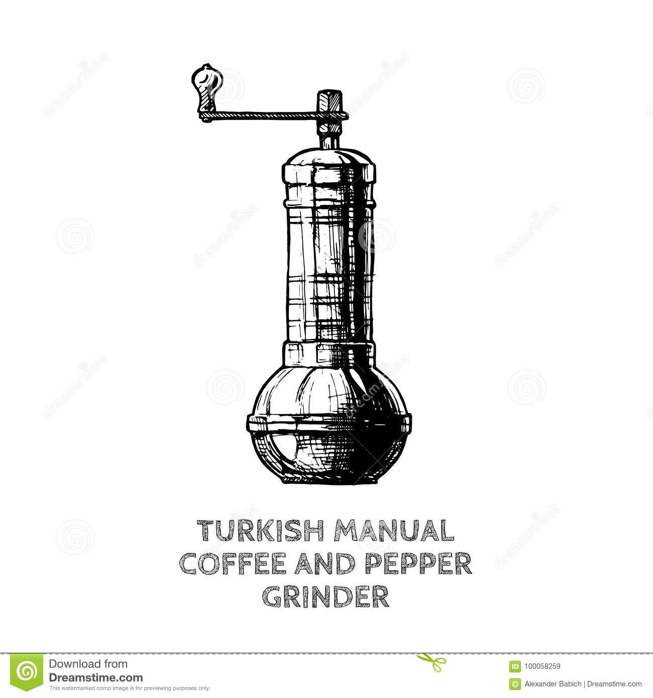 Turkish Coffee And Pepper Grinder Stock Vector