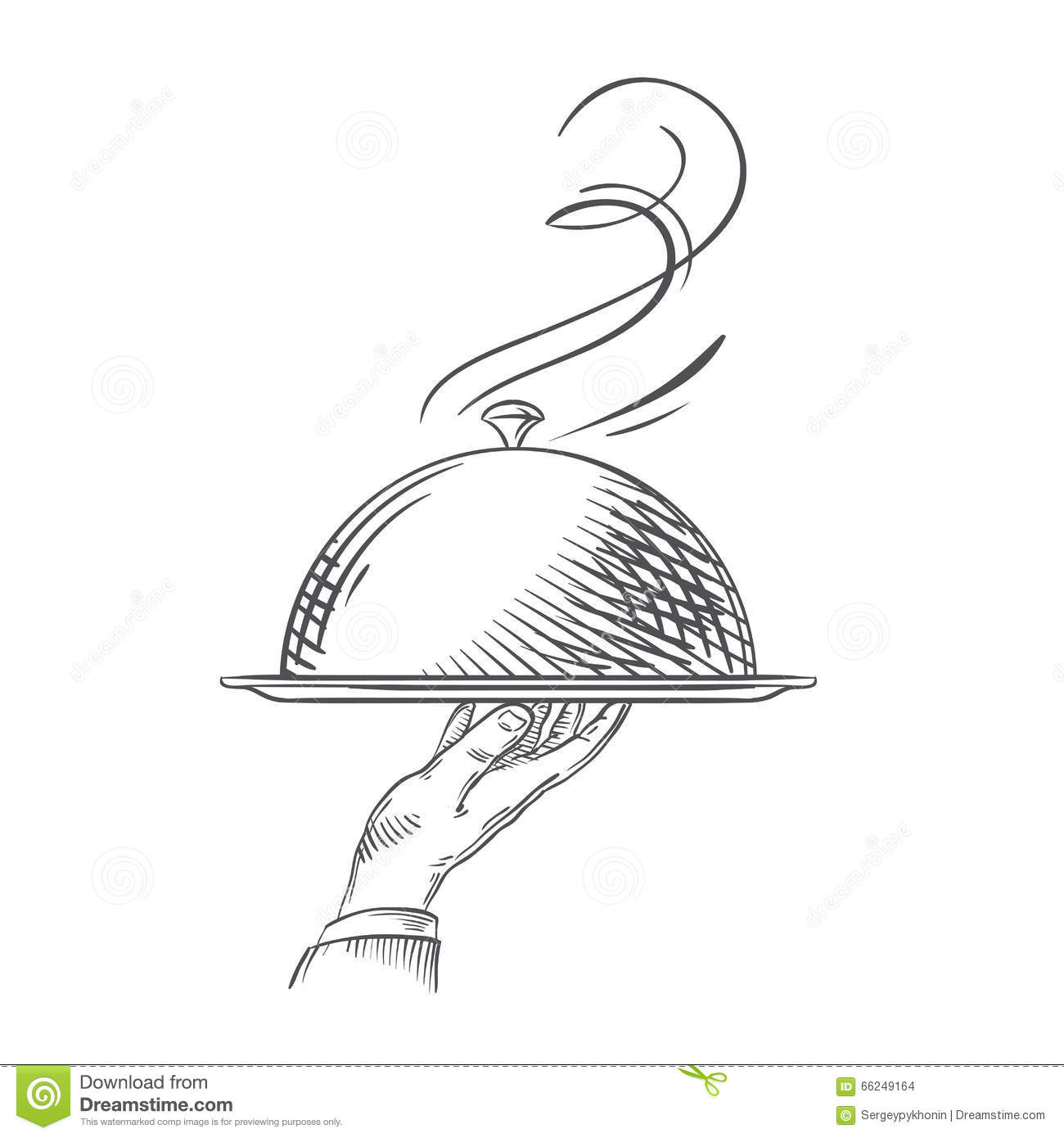 Vector Hand Drawn Illustration Of Waiter Hand Holding A