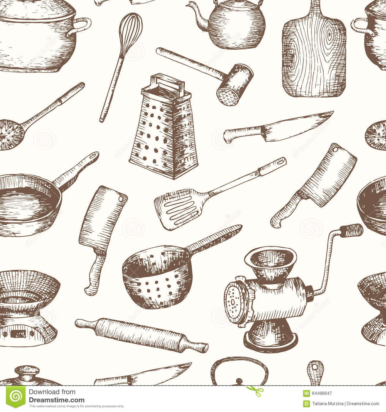 Vector Hand Drawn Kitchen Tools Seamless Pattern Stock