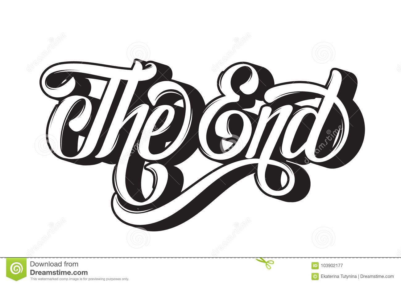 Vector Hand Drawn Lettering The End Stock Vector
