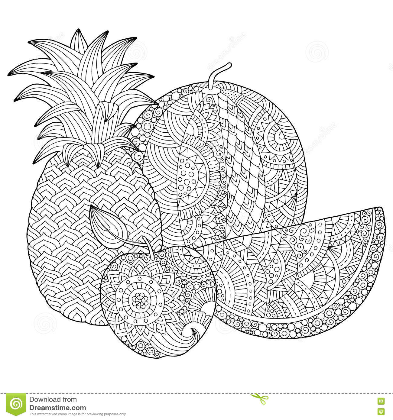 Vector Hand Drawn Pineapple Watermelon Apple