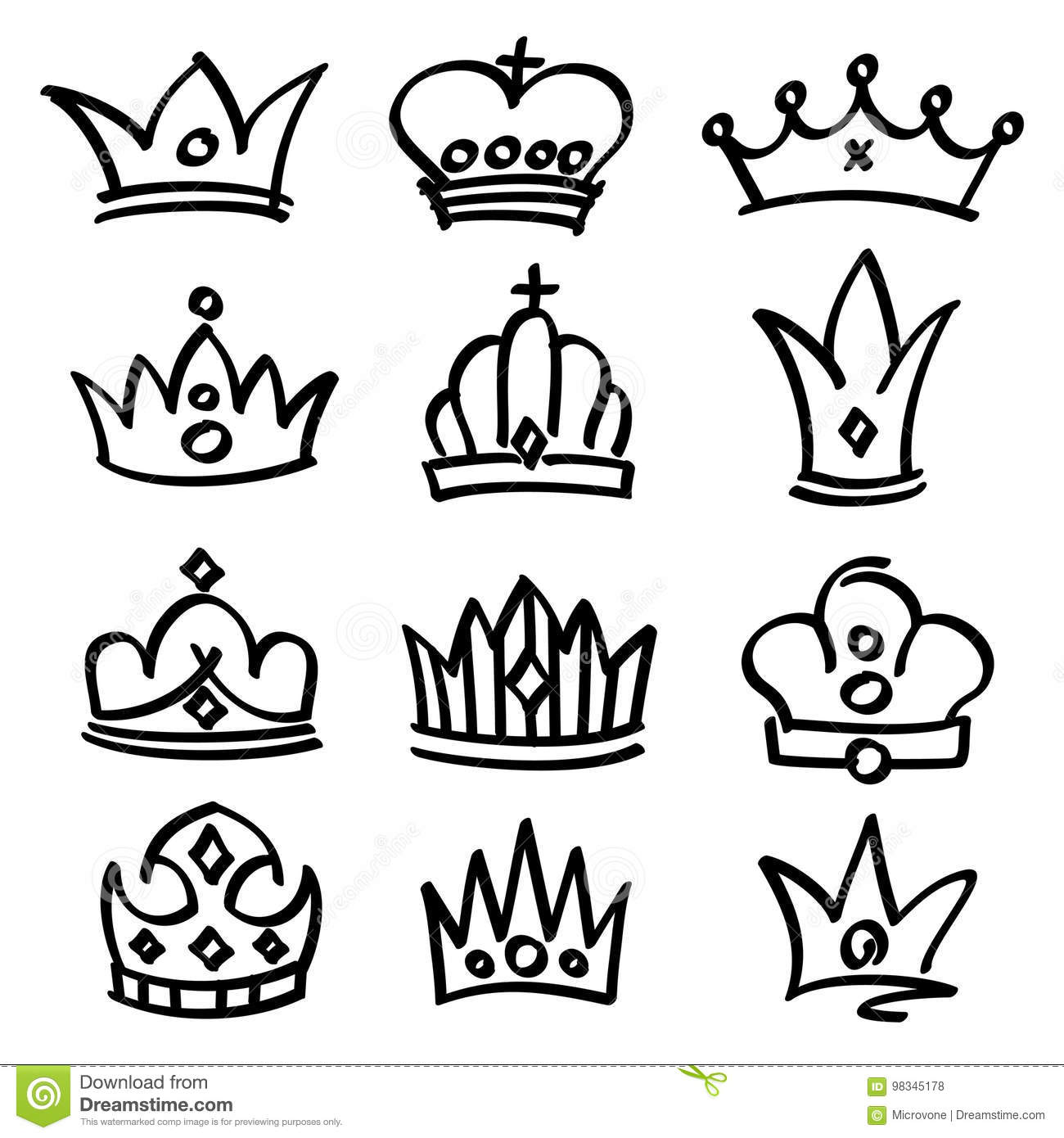 Vector Hand Drawn Princess Crowns Sketch Doodle Royalty