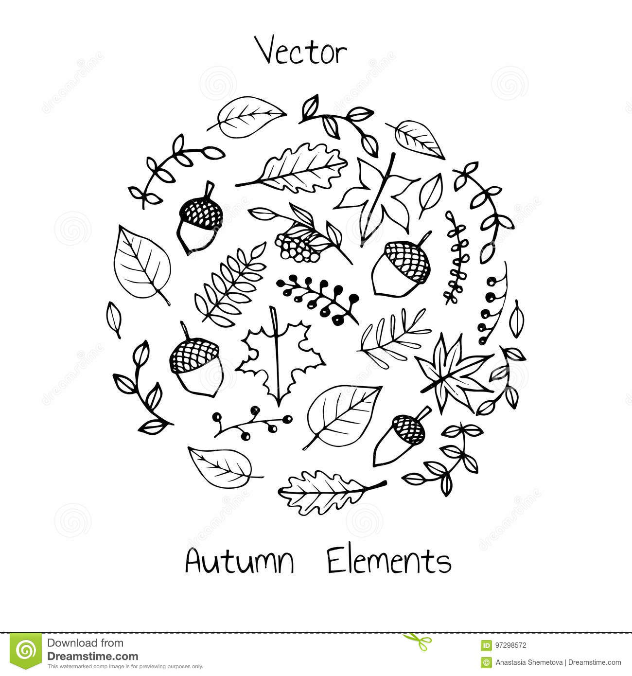 Vector Hand Drawn Set Of Autumn Elements Foliage Berries